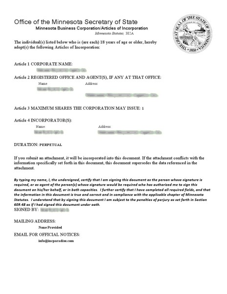 Articles of Incoporation 1st page