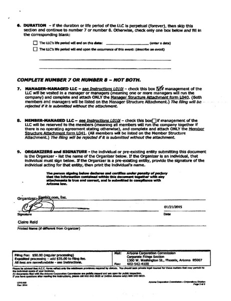 Articles of Organization 2nd page