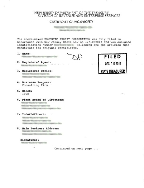 Certificate of Incorporation 1st page
