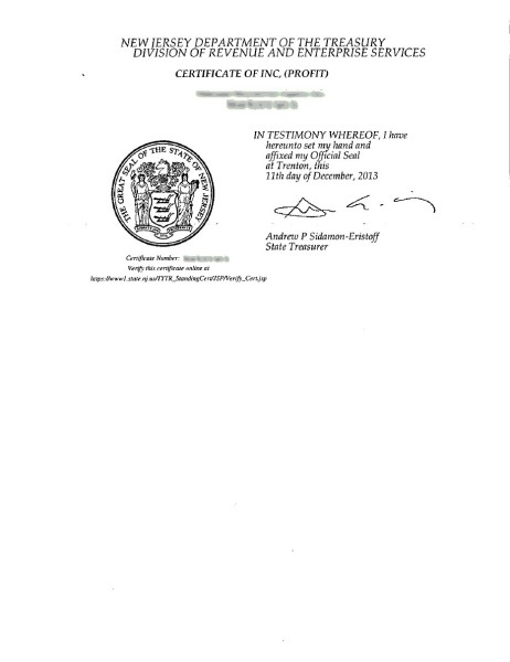 Certificate of Incorporation 2nd page