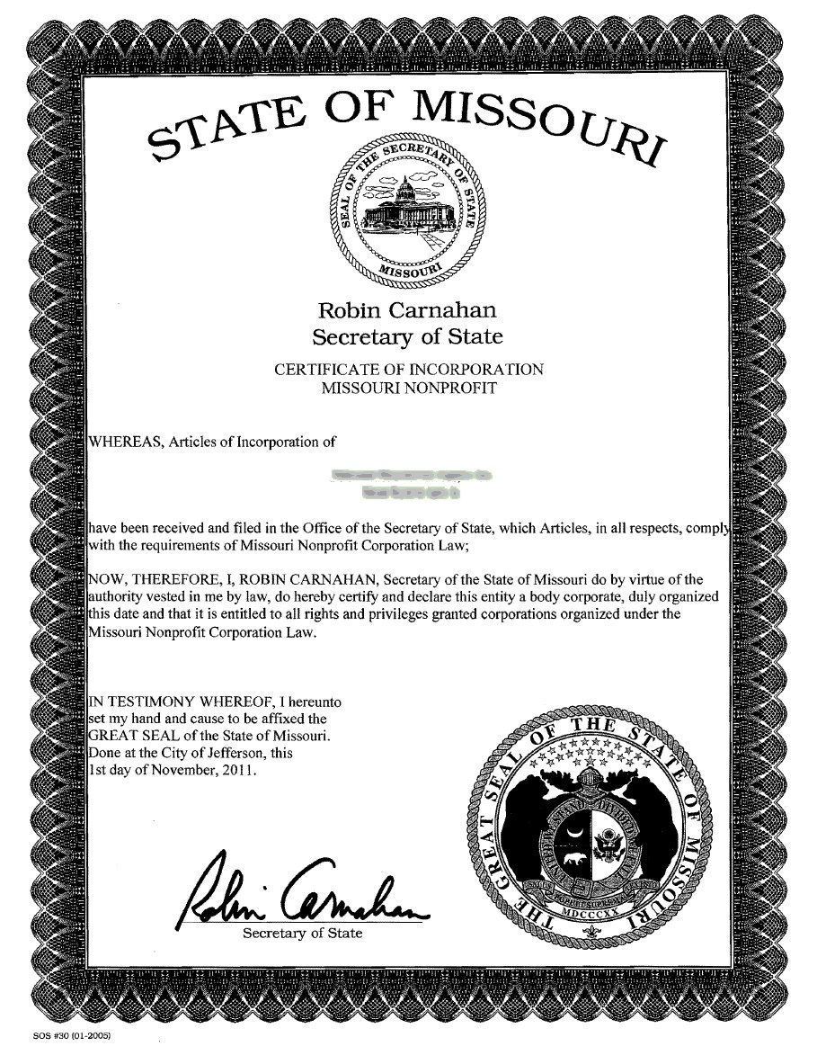 missouri incorporation certificate articles business llc state filing incparadise corporation interested starting
