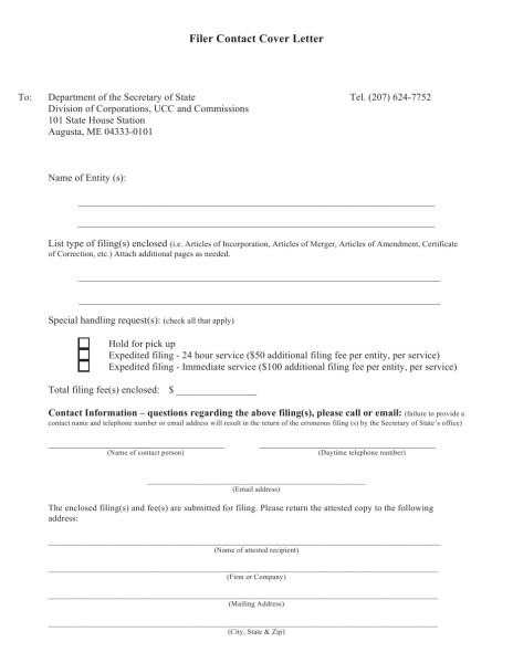 Filer Contact Cover Letter