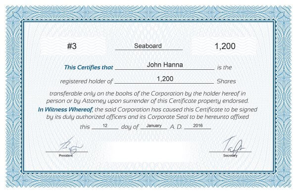 It is a graphic of Printable Stock Certificate with downloadable